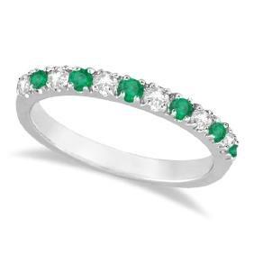 Diamond and Emerald Ring Guard Anniversary Band 14k Whi