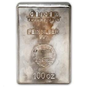 100 oz Silver Bar - Geiger (Security Line Series/Scruff