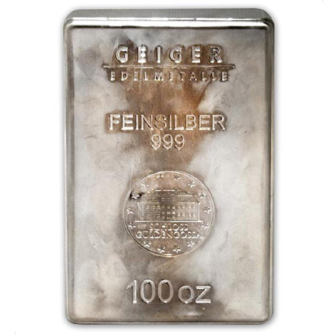 100 oz Silver Bar - Geiger (Security Line Series/Scruff