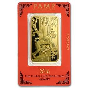 100 gram Gold Bar - PAMP Suisse Year of the Monkey (In
