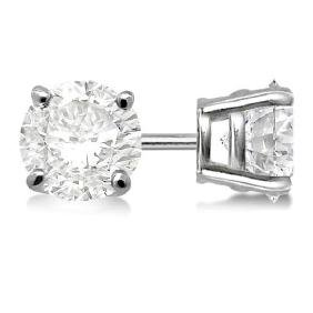 Certified 1.4 CTW Round Diamond Stud Earrings J/SI2