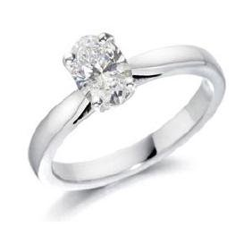 CERTIFED 0.7 CTW OVAL SOLITAIRE 14K WHITE GOLD DIAMOND
