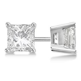 Certified 1.31 CTW Princess Diamond Stud Earrings G/SI3