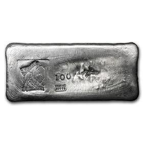 100 oz Silver Bar - Bison Bullion