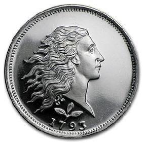 1/2 oz Silver Round - Flowing Hair