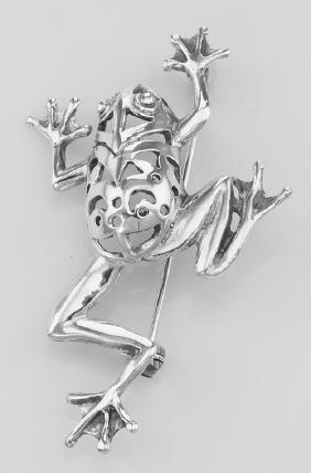Frog Pin - Tree Frog Brooch - Sterling Silver