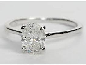 CERTIFED 1.07 CTW OVAL SOLITAIRE 14K WHITE GOLD DIAMOND