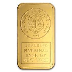 1 oz Gold Bar - Johnson Matthey (Republic Bank New of Y