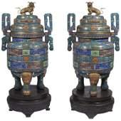 Pair of Monumental Chinese Blue Cloisonné Enamel Censer
