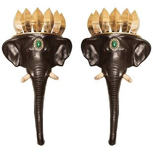 Pair of English Elephant Wall Brackets After Anthony Re