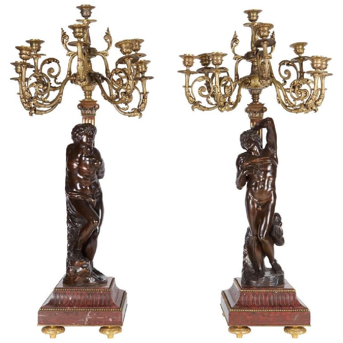 Ferdinand Barbedienne, a Large Pair of French Gilt Pati