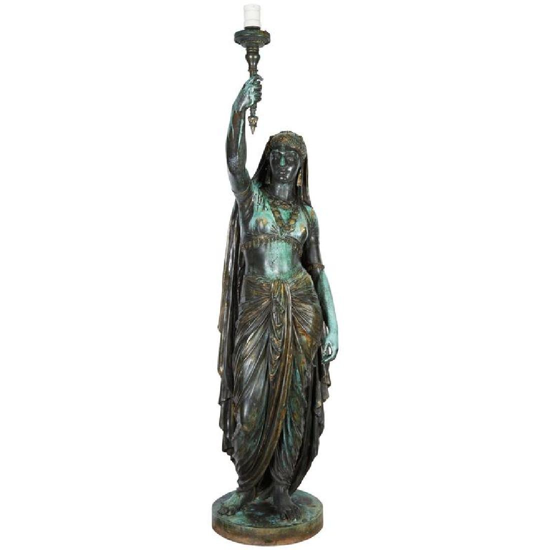 "Emile Guillemin Bronze Sculpture Torchiere Lamp ""Femme"