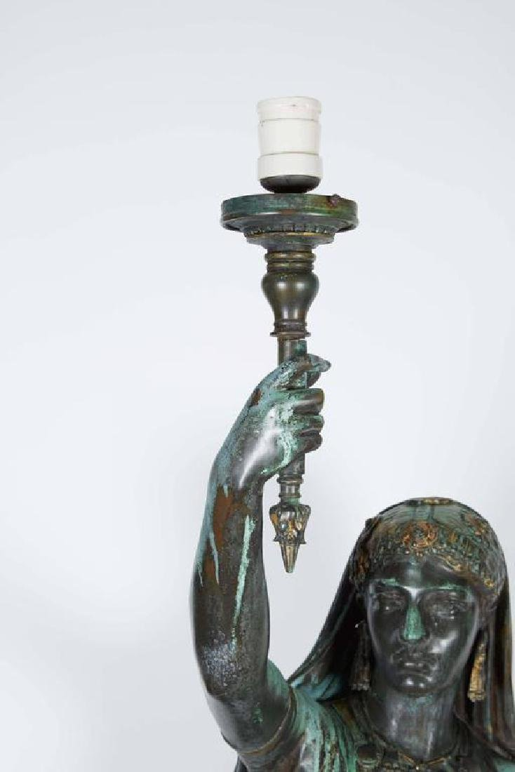"Emile Guillemin Bronze Sculpture Torchiere Lamp ""Femme - 3"