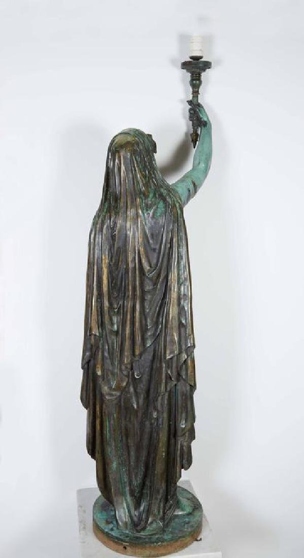 "Emile Guillemin Bronze Sculpture Torchiere Lamp ""Femme - 4"