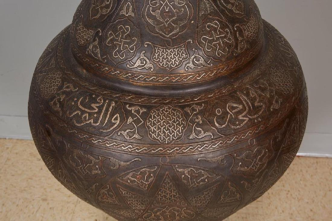 Monumental Pair of Islamic Silver Inlaid Palace Vases - 9