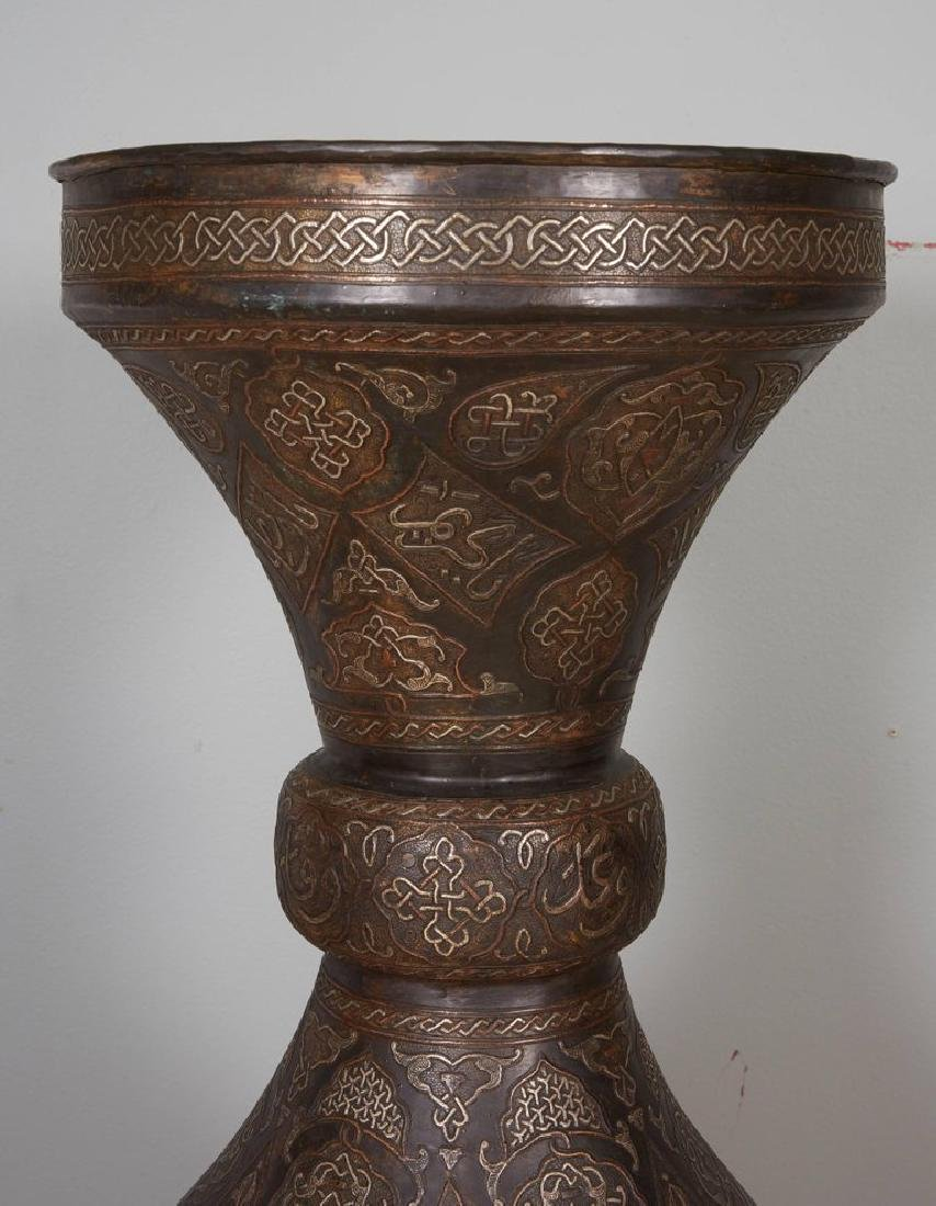 Monumental Pair of Islamic Silver Inlaid Palace Vases - 8