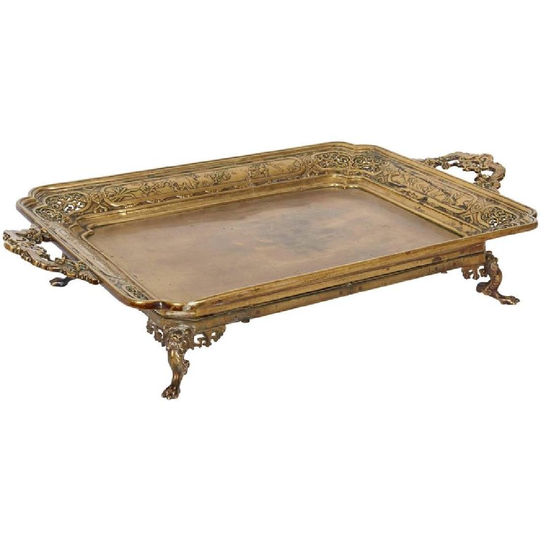 Large French Japonisme Bronze Two Handle Tray, 19th