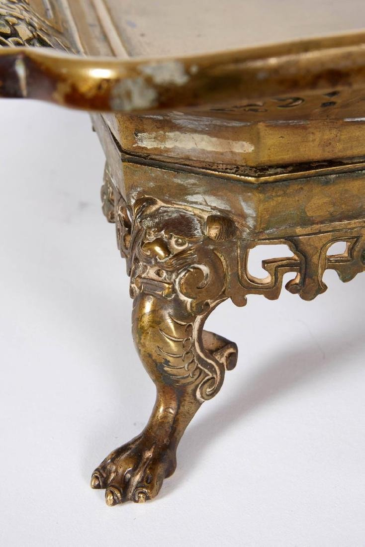 Large French Japonisme Bronze Two Handle Tray, 19th - 2