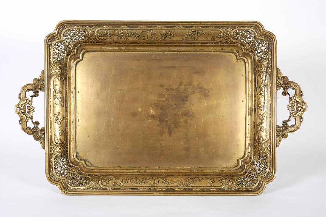 Large French Japonisme Bronze Two Handle Tray, 19th - 3