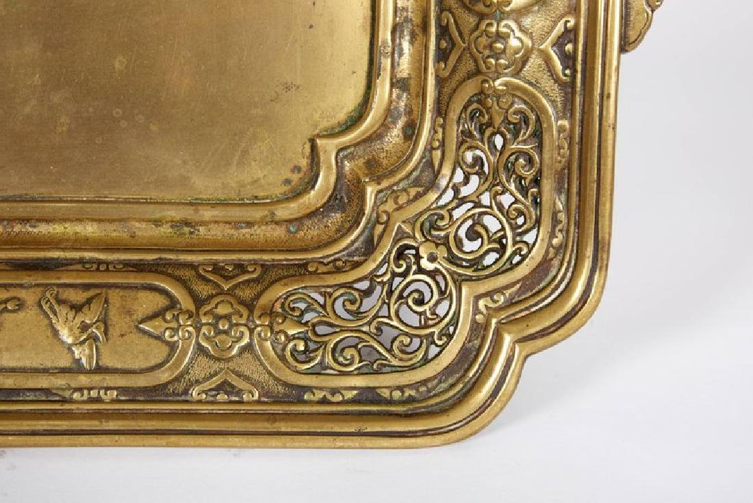 Large French Japonisme Bronze Two Handle Tray, 19th - 5
