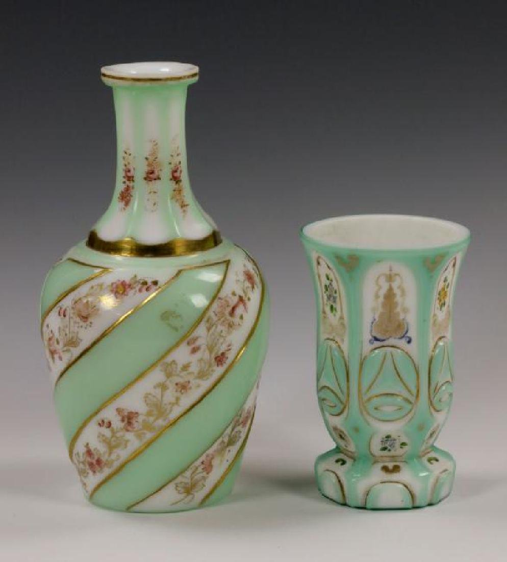 19th C. Bohemian Overlay Glass Decanter & Goblet - 2