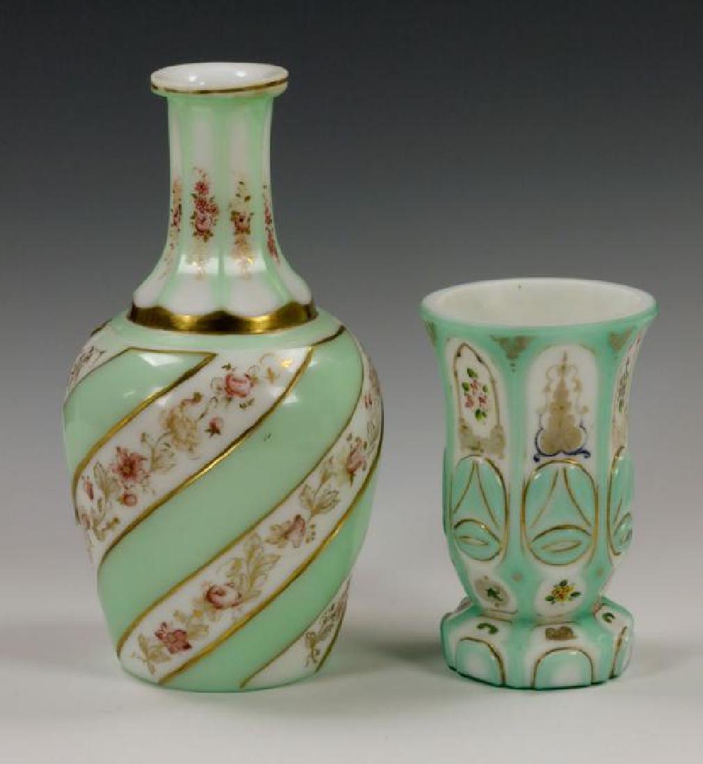 19th C. Bohemian Overlay Glass Decanter & Goblet - 3