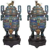 Pair of Monumental Chinese Blue Cloisonne Enamel