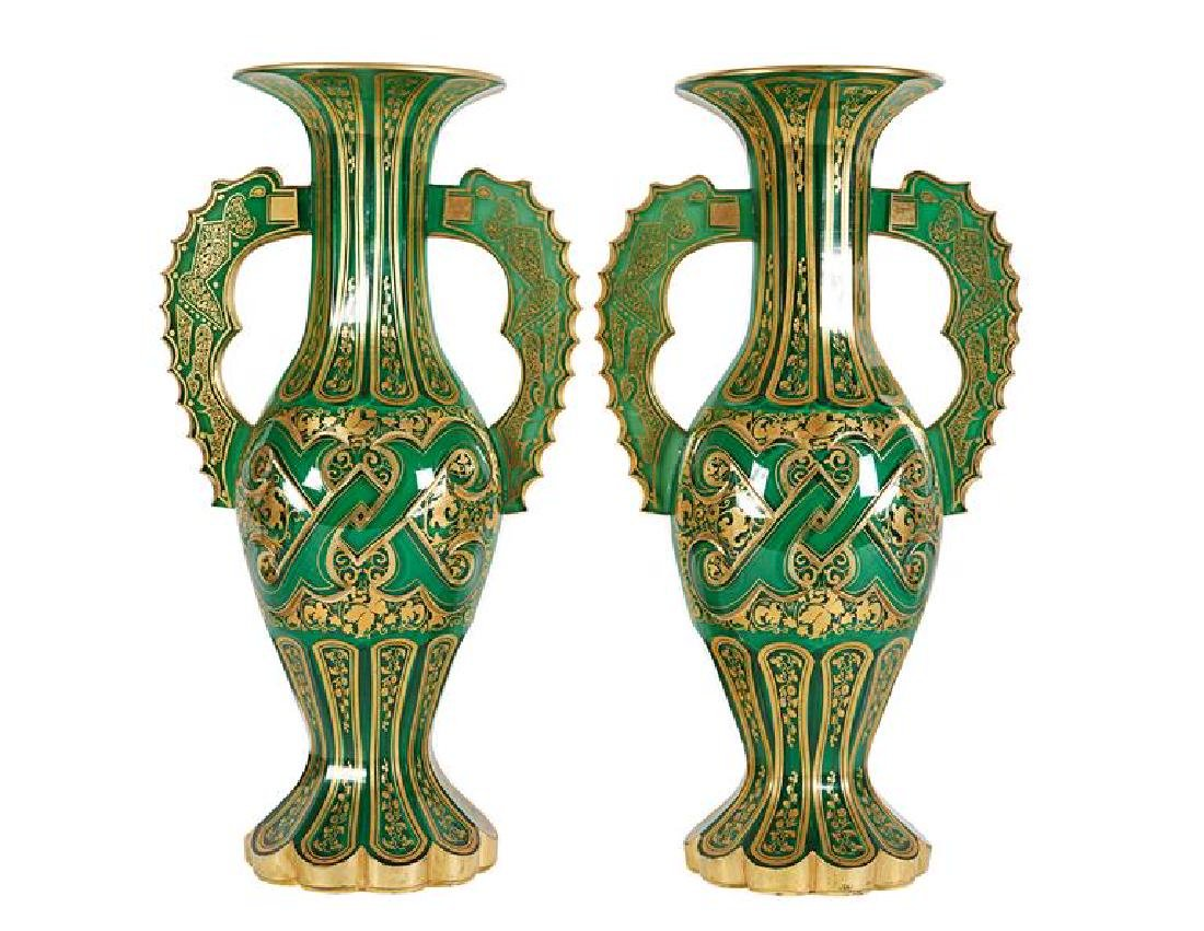 Magnificent Pair of Bohemian Green Gilt and Clear Cut-G