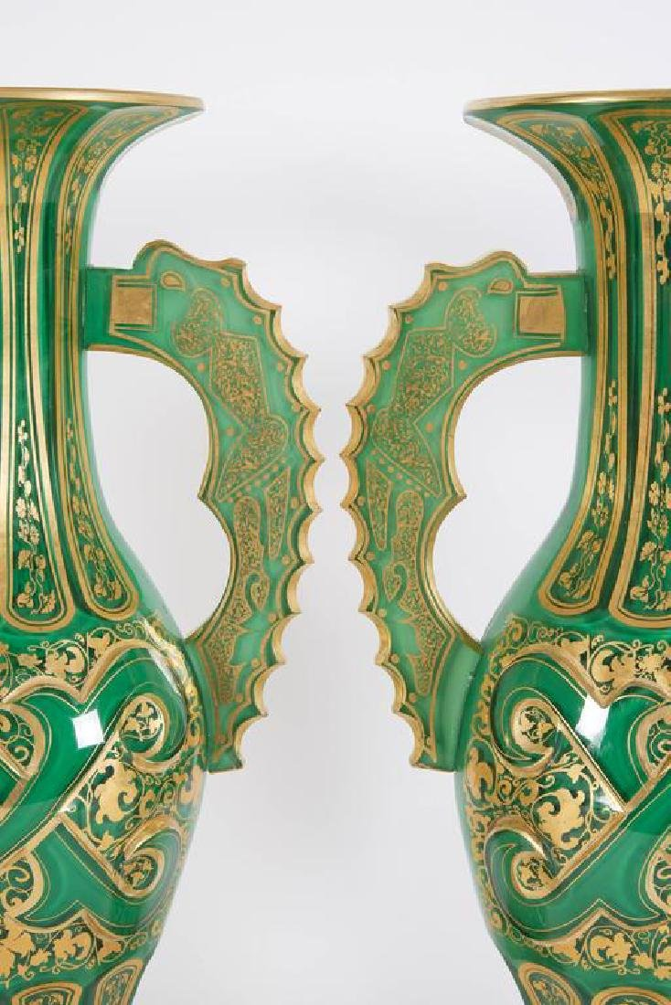 Magnificent Pair of Bohemian Green Gilt and Clear Cut-G - 2