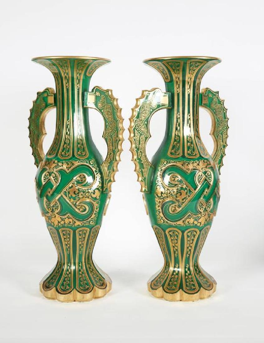 Magnificent Pair of Bohemian Green Gilt and Clear Cut-G - 3