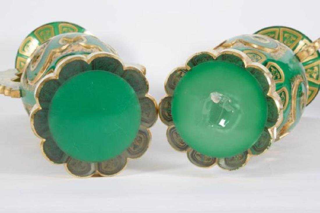 Magnificent Pair of Bohemian Green Gilt and Clear Cut-G - 4