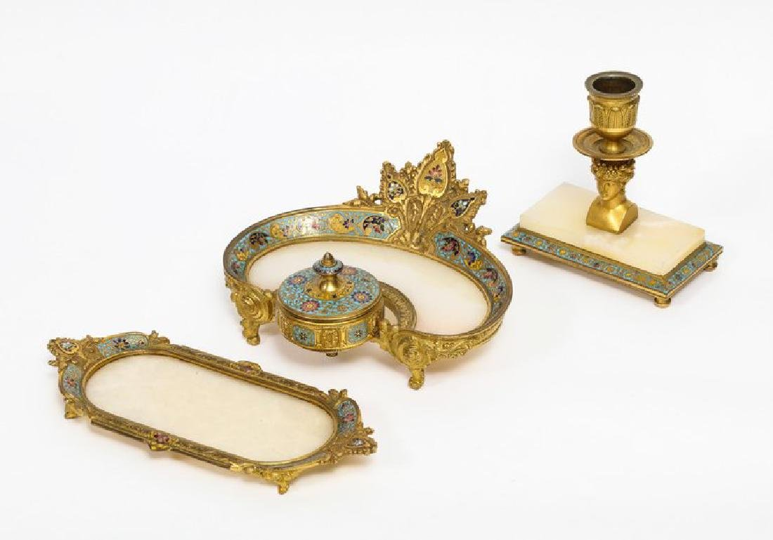 French Ormolu Bronze, Onyx, and Champleve Cloisonne - 3