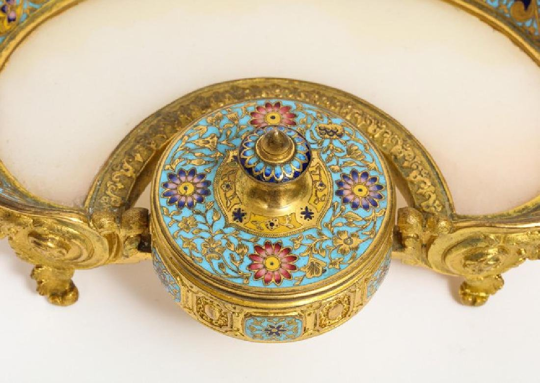 French Ormolu Bronze, Onyx, and Champleve Cloisonne - 6