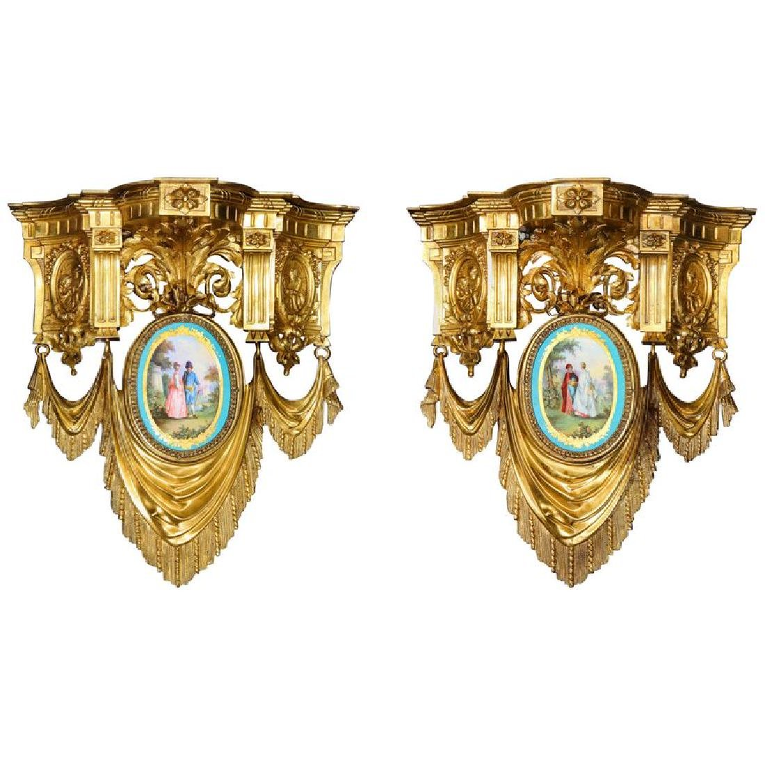 Pair of French Ormolu Bronze and Sevres Porcelain Wall