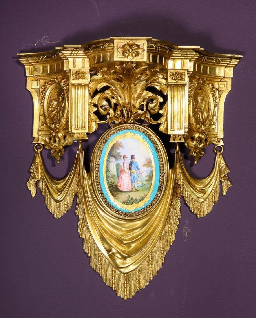 Pair of French Ormolu Bronze and Sevres Porcelain Wall - 8