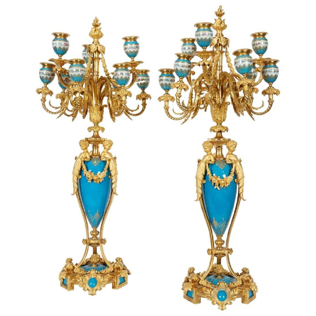 Exquisite Pair of French Ormolu and Turquoise Sevres