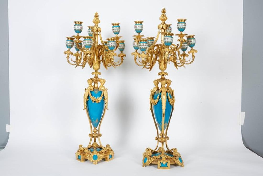 Exquisite Pair of French Ormolu and Turquoise Sevres - 2