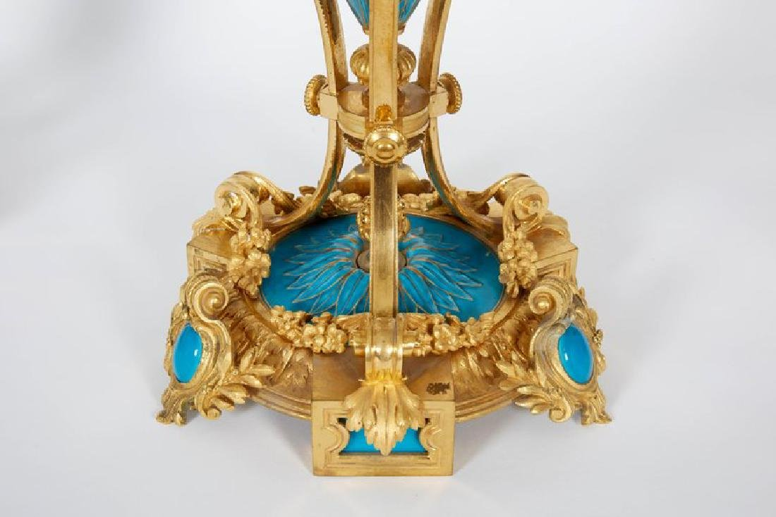 Exquisite Pair of French Ormolu and Turquoise Sevres - 3
