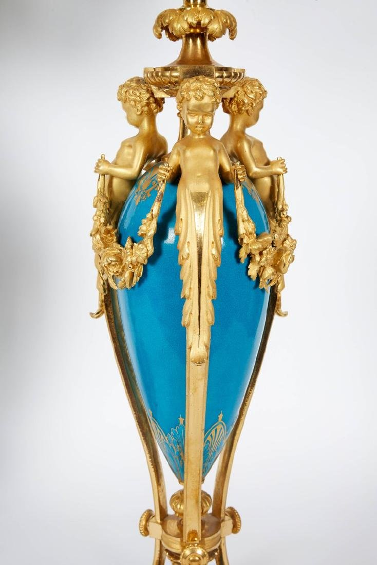 Exquisite Pair of French Ormolu and Turquoise Sevres - 4