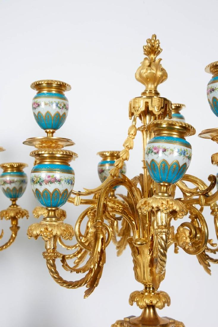 Exquisite Pair of French Ormolu and Turquoise Sevres - 5