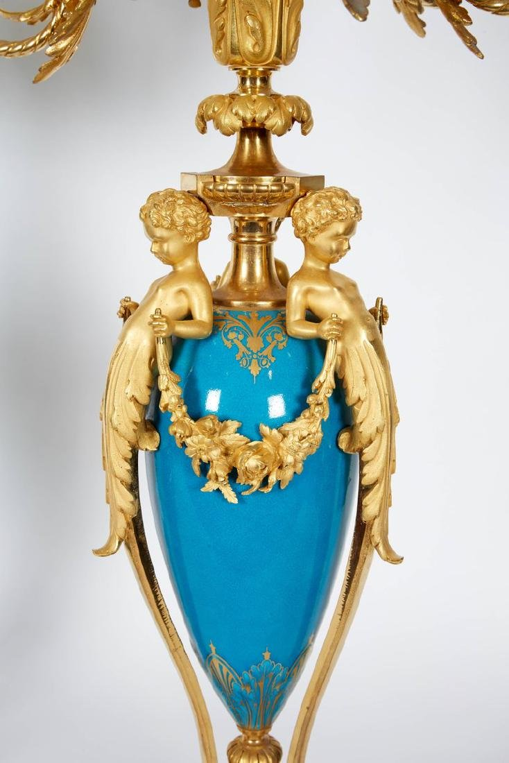 Exquisite Pair of French Ormolu and Turquoise Sevres - 6