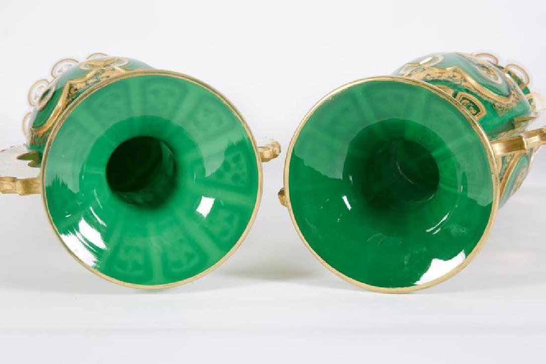 Magnificent Pair of Bohemian Green Gilt and Clear Cut-G - 5