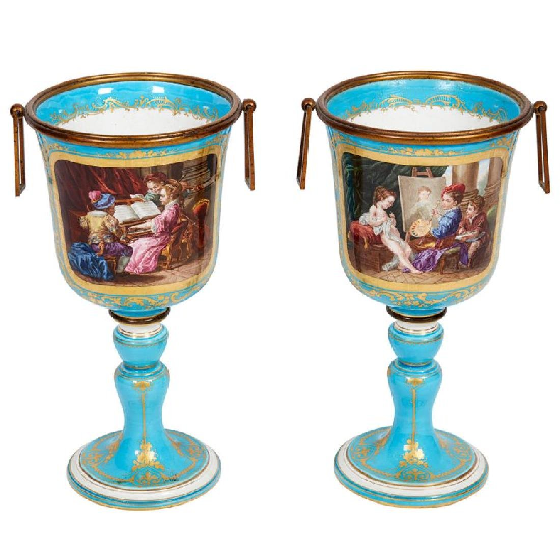 Pair of French Sevres Style Turquoise Porcelain Cups or