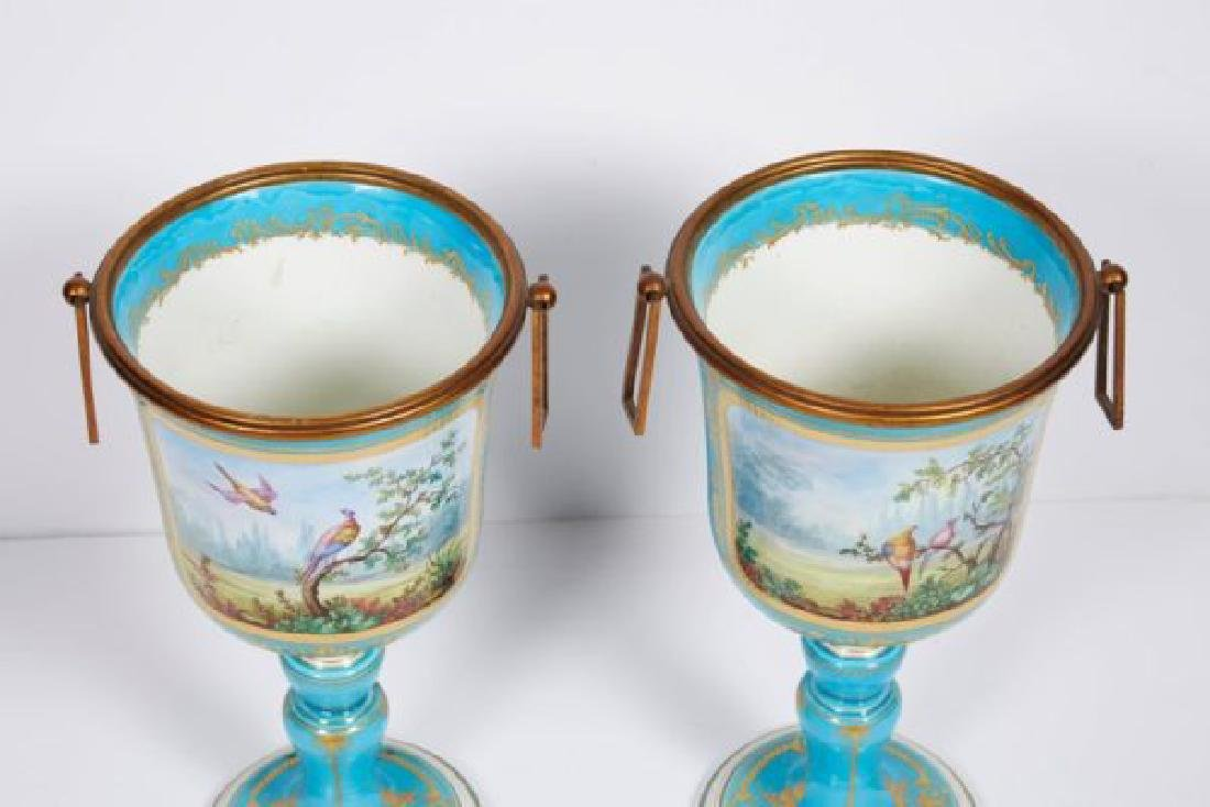 Pair of French Sevres Style Turquoise Porcelain Cups or - 2