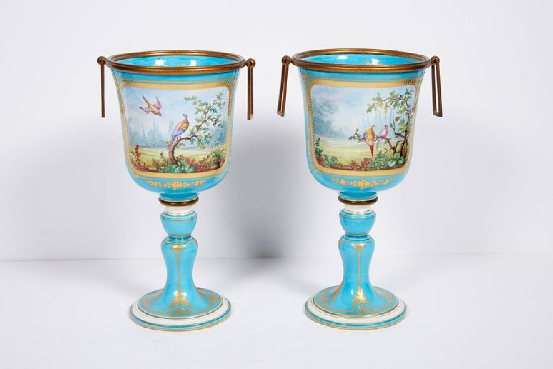 Pair of French Sevres Style Turquoise Porcelain Cups or - 5