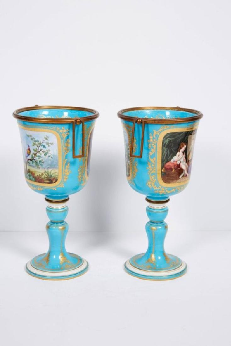 Pair of French Sevres Style Turquoise Porcelain Cups or - 6