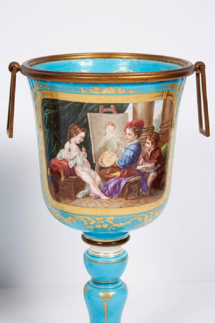 Pair of French Sevres Style Turquoise Porcelain Cups or - 8
