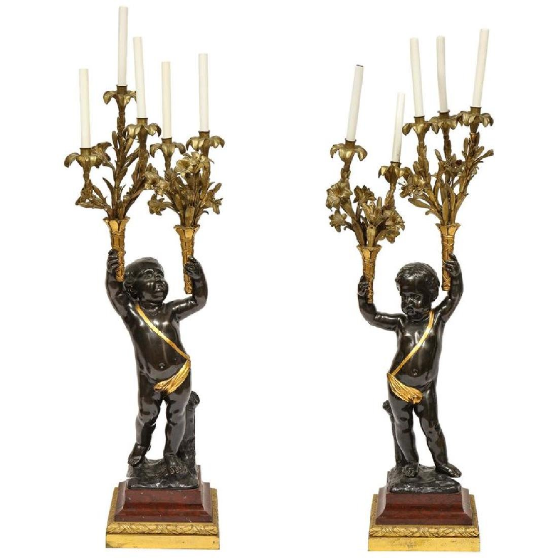Monumental Pair of French Gilt and Patinated Bronze and