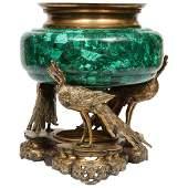French Japonisme Phoenix Bronze and Malachite