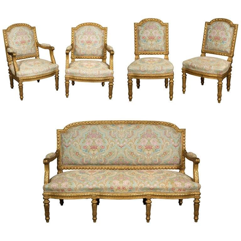 Exceptional French Louis XVI Style Five-Piece Gilt-wood